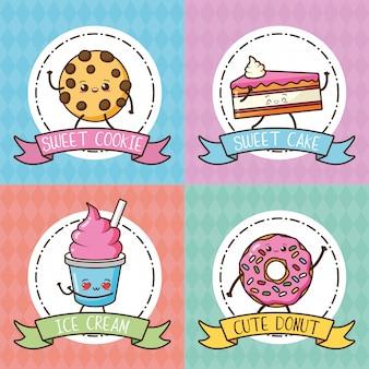 Biscoito kawaii, bolo, rosquinha e sorvete em tons pastel, ilustração
