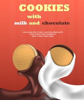 Biscoito leite de biscoito e banner vertical de chocolate