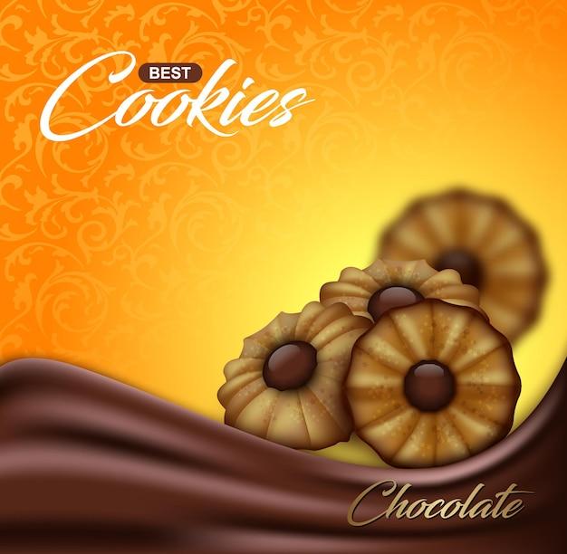 Biscoitos amanteigados com chocolate em padrão floral