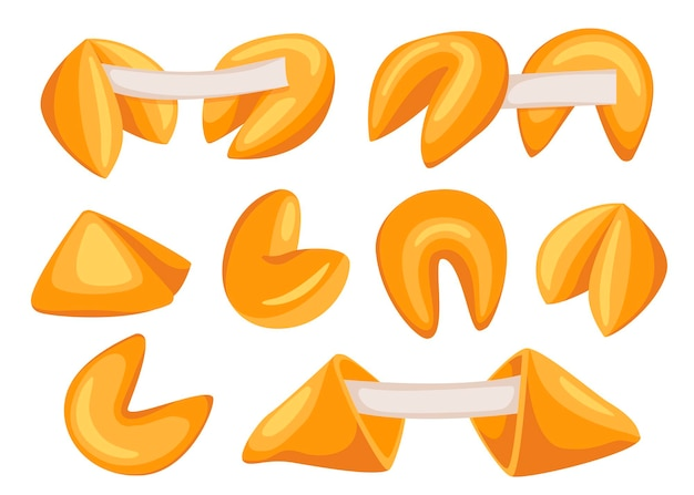 Biscoitos da sorte chineses. conjunto de alimentos. pastelaria doce. biscoito da sorte estilo desenho animado desenhado com uma nota em branco dentro