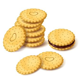 Biscoitos de biscoito ou cracker com vetor de creme