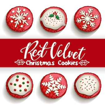 Biscoitos de chocolate de veludo vermelho em branco com ilustração de caligrafia