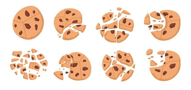 Biscoitos de chocolate. desenho animado mordido de padaria quebrada com migalhas, pedaços de doces redondos