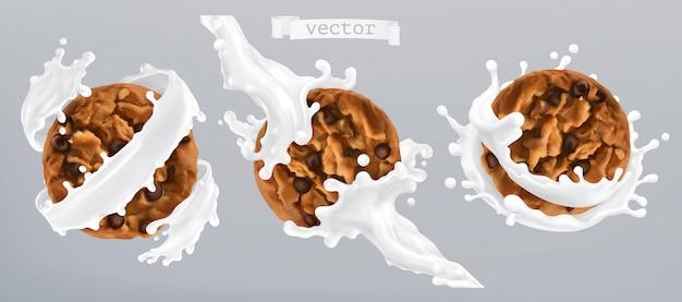 Biscoitos de chocolate e respingo de leite. ícone realista 3d