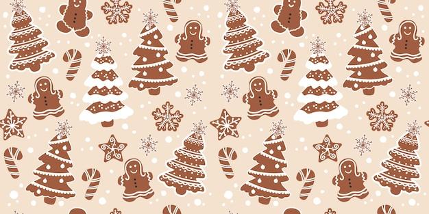 Biscoitos de chocolate no padrão sem costura para decoração