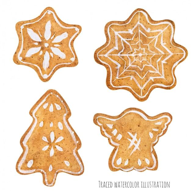 Biscoitos de gengibre caseiro açúcar decorados por glacê