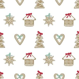 Biscoitos de gengibre de feliz natal de padrão sem emenda com glacê branco em forma de flocos de neve ouvir.