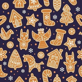 Biscoitos de gengibre de gengibre padrão ilustração vetorial sem costura de natal