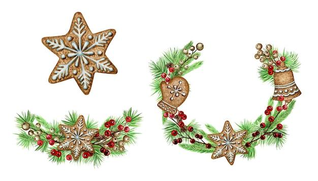 Biscoitos de gengibre de grinalda de natal cartaz de cartão, conceito de banner. quadro redondo de cones de ramos de pinheiro em fundo branco, ilustração de aquarela mão desenhada de ano novo com espaço de cópia para o texto
