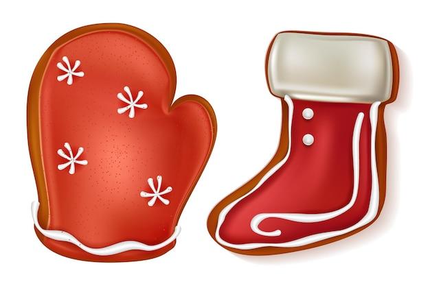 Biscoitos de gengibre de natal, conjunto de