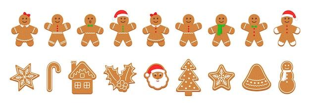Biscoitos de gengibre de natal. pastelaria de natal bonito. ilustração vetorial.