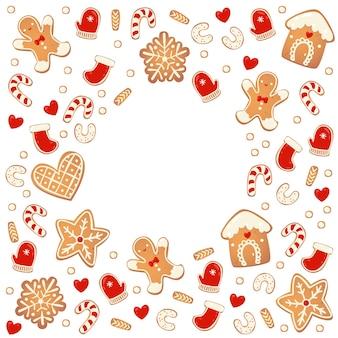 Biscoitos de gengibre de natal redondo quadro isolado. elementos de design de ano novo. desenho animado desenhado à mão ilustração vetorial