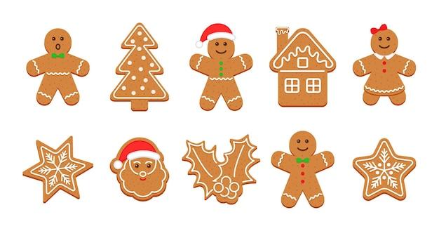 Biscoitos de gengibre. doces fofos de natal. ilustração vetorial.