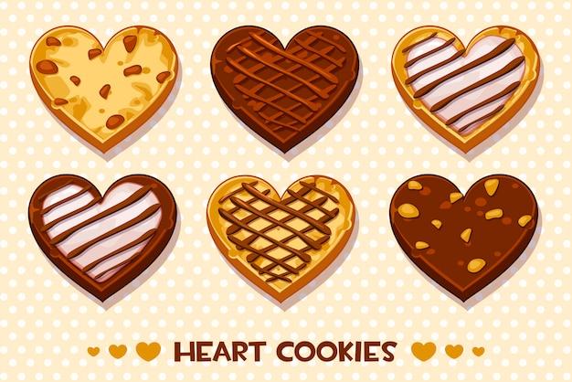 Biscoitos de gengibre e chocolate em forma de coração, conjunto feliz dia dos namorados