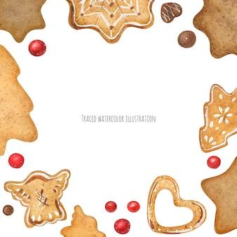 Biscoitos de gengibre e moldura de chocolate
