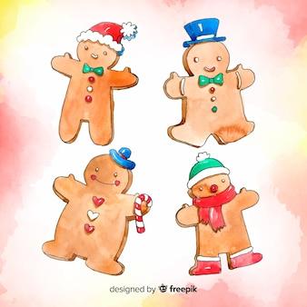 Biscoitos de gengibre em aquarela
