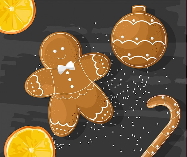 Biscoitos de gengibre em fundo escuro