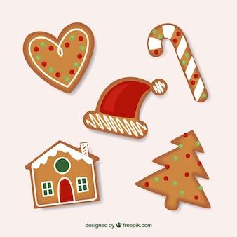Biscoitos de gengibre fundo de decorações do natal
