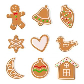 Biscoitos de gengibre, homem e ícones de corações de sinos