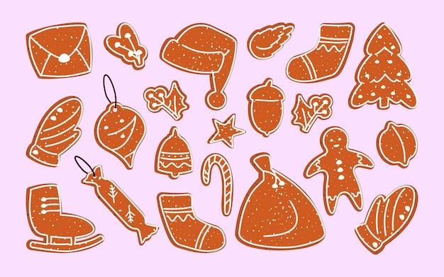 Biscoitos de gengibre, natal, conjunto plano dos desenhos animados. sobremesa de inverno. guloseima tradicional, vidrado decorado