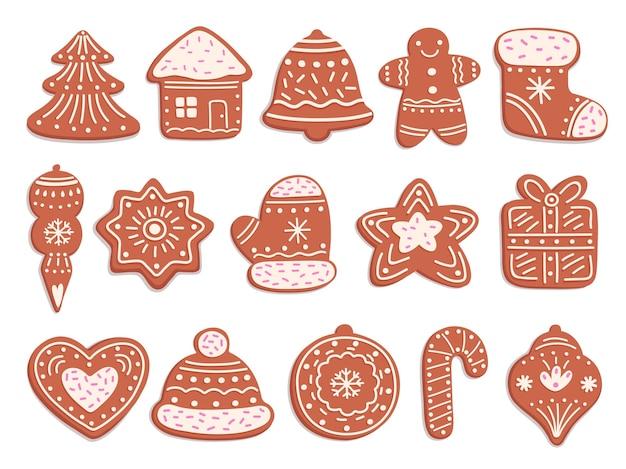 Biscoitos de gengibre. pão de natal, biscoitos de gengibre de enfeite com decoração de esmalte. bolos doces de férias isolados, conjunto de vetores de pastelaria de natal. coleção de pão de mel, ilustração de comida doce de natal