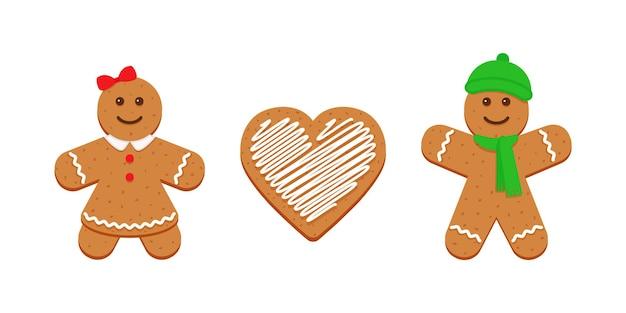 Biscoitos de gengibre. sobremesa de natal clássica. biscoito de natal isolado no fundo branco