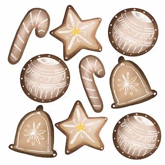 Biscoitos de natal - coleção de mão desenhada