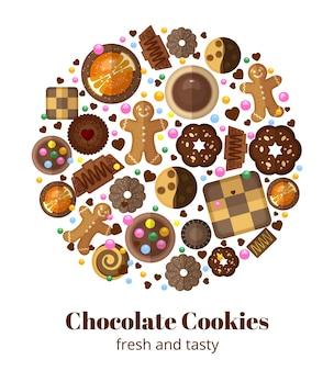 Biscoitos de natal de chocolate em formato redondo