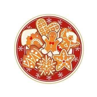 Biscoitos de natal de gengibre na placa vermelha com flocos de neve. ilustração em vetor vista superior para design de férias de inverno e ano novo.