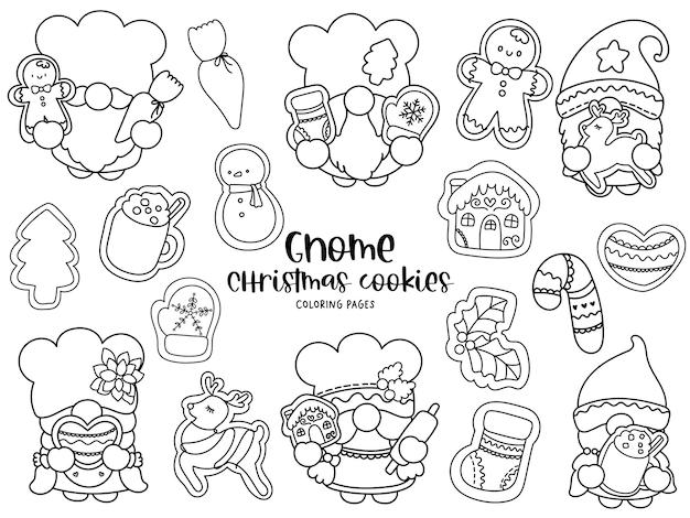Biscoitos de natal de gnomo doodle, páginas para colorir.