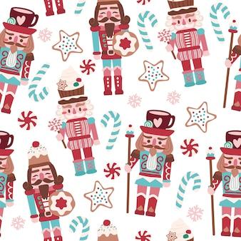 Biscoitos de quebra-nozes fofos de natal natalino e doces padrão sem emenda para tecidos de linho