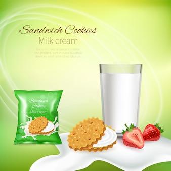 Biscoitos de sanduíche com creme de leite e morangos