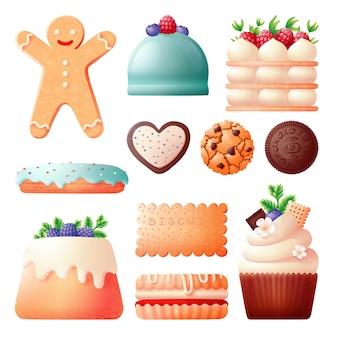 Biscoitos e bolos. biscoito doce, aniversário de biscoito e natal. comida de padaria, pão de gengibre e sobremesa de chocolate. vetor chique de massa cremosa definido em branco