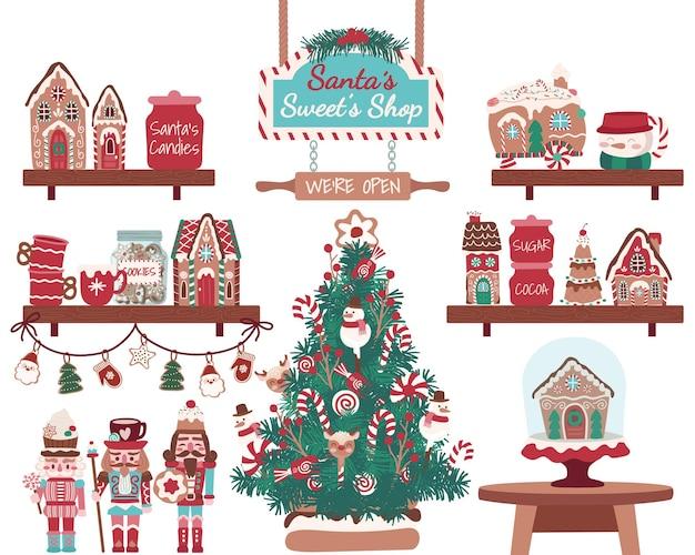 Biscoitos e doces de quebra-nozes de casa de pão de gengibre com árvore de natal doce