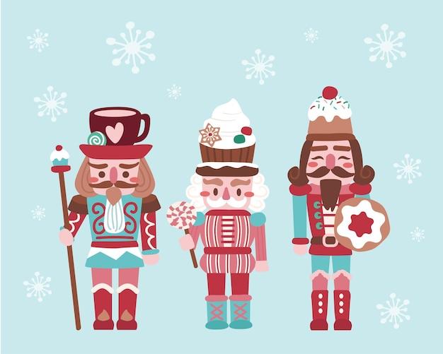 Biscoitos e doces de quebra-nozes de natal natalino fofos