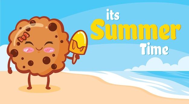 Biscoitos fofos segurando sorvete com uma faixa de saudação de verão