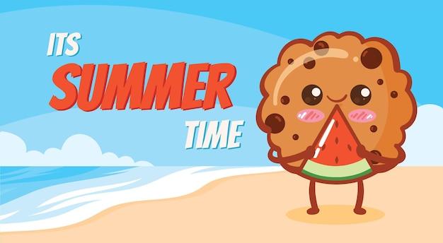 Biscoitos fofos segurando uma melancia com uma bandeira de saudação de verão