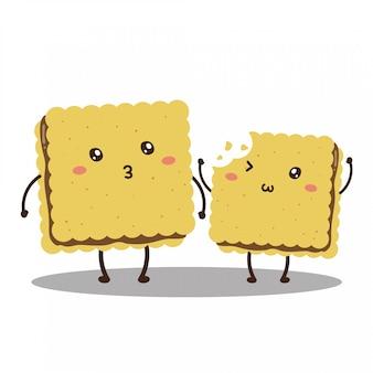 Biscoitos mordidos felizes fofos personagem vector design