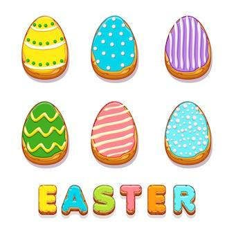 Biskvit colorido cookies ovos, feliz páscoa