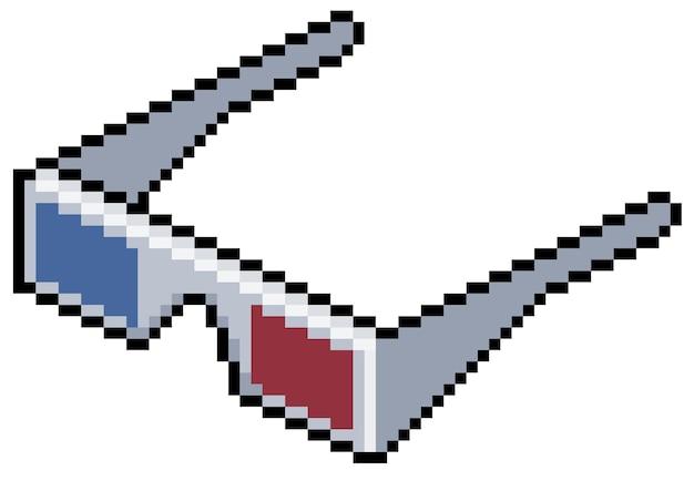 Bit do jogo de cinema de óculos em três dimensões de pixel art