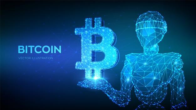 Bitcoin. abstrato 3d baixo robô poligonal segurando o ícone de bitcoin.