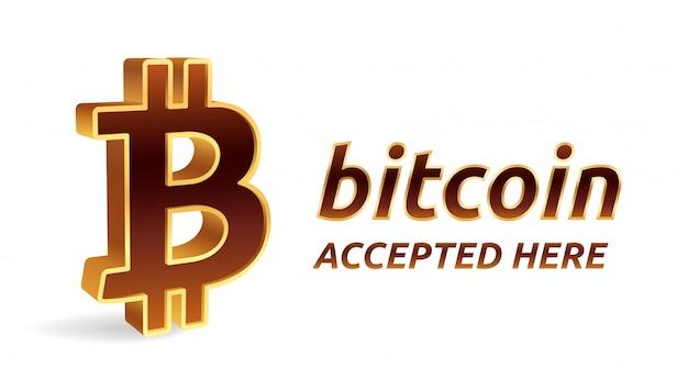 Bitcoin aceito aqui, banner. criptomoeda.