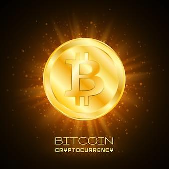 Bitcoin. bitcoin físico. moeda digital. criptomoeda. moeda de ouro com símbolo de bitcoin.