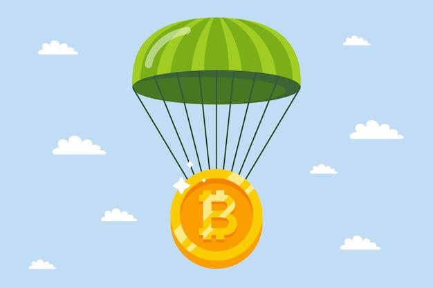 Bitcoin cai de paraquedas. garantir criptomoedas contra a crise.