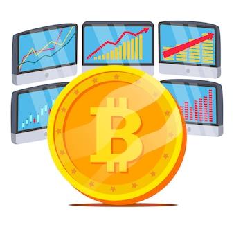 Bitcoin com diagrama de gráfico