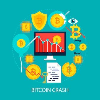 Bitcoin crash flat concept. ilustração em vetor design cartaz. conjunto de objetos de criptomoeda.