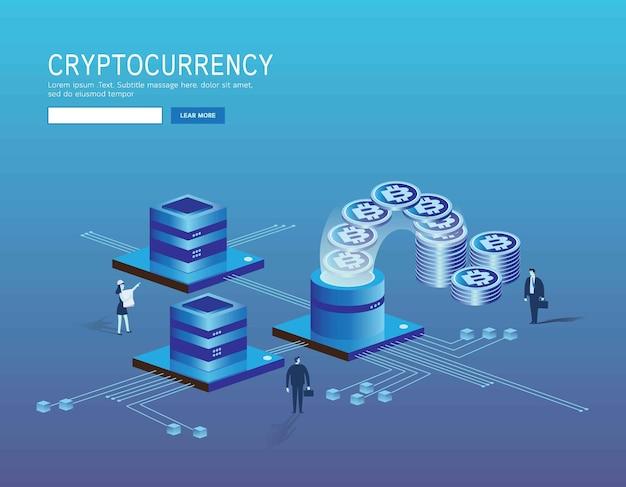 Bitcoin, criptomoeda e página de destino do blockchain