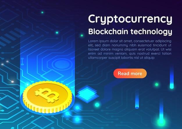 Bitcoin de banner 3d isométrico da web na placa de circuito. mineração de dinheiro digital. conceito de página inicial de investimento criptomoeda e blockchain.