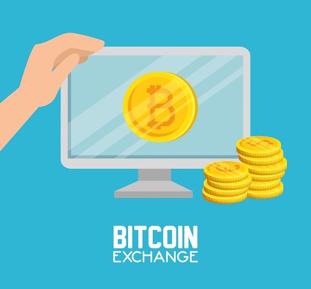 Bitcoin de computador com moedas moeda e mão