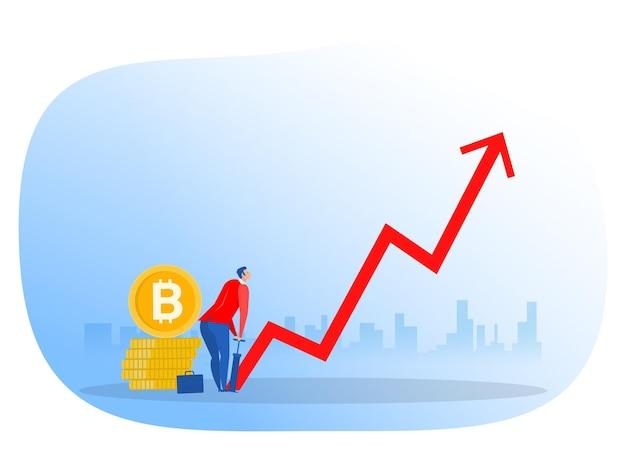 Bitcoin de empresário por bomba de ar. conceito de investimento em crescimento. ilustrador vetorial